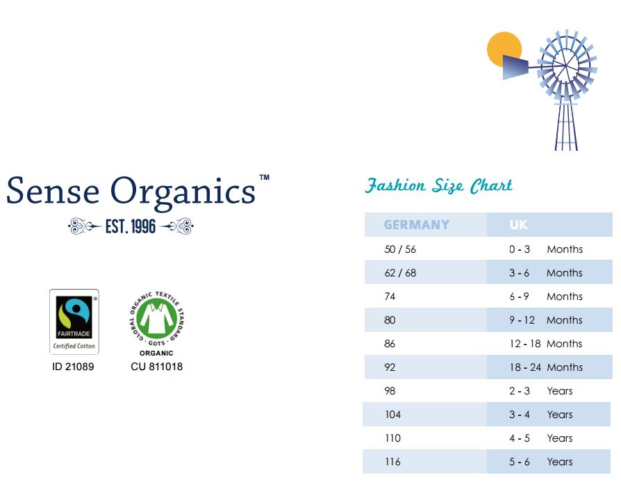 Ghid mărimi Sense Organics
